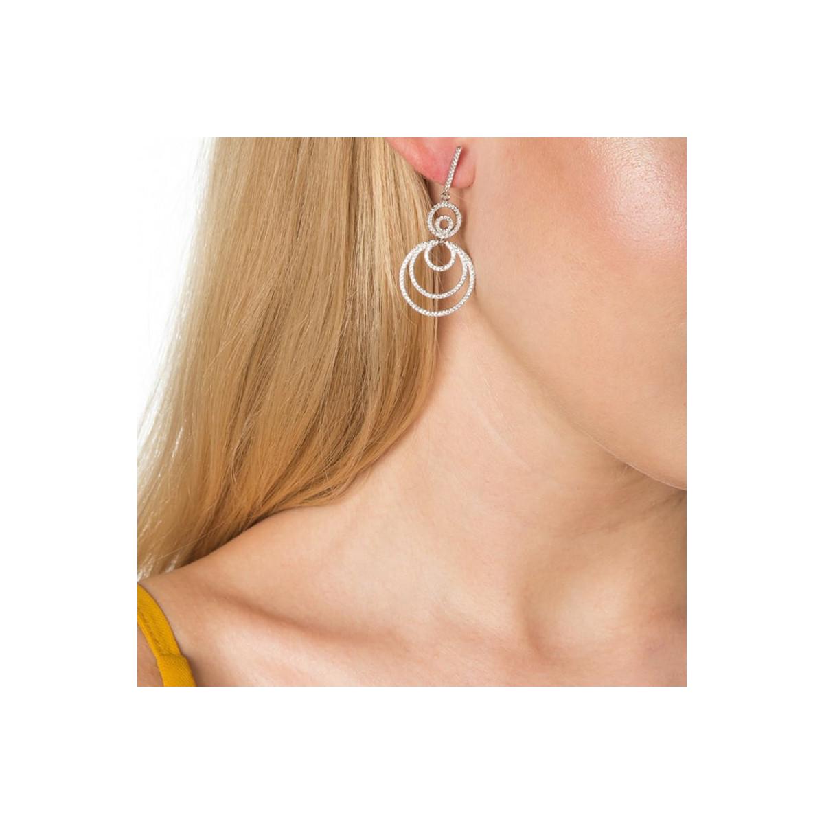 """Boucles d'oreilles argent et oxydes de zirconium """"Encerclement Infini"""""""