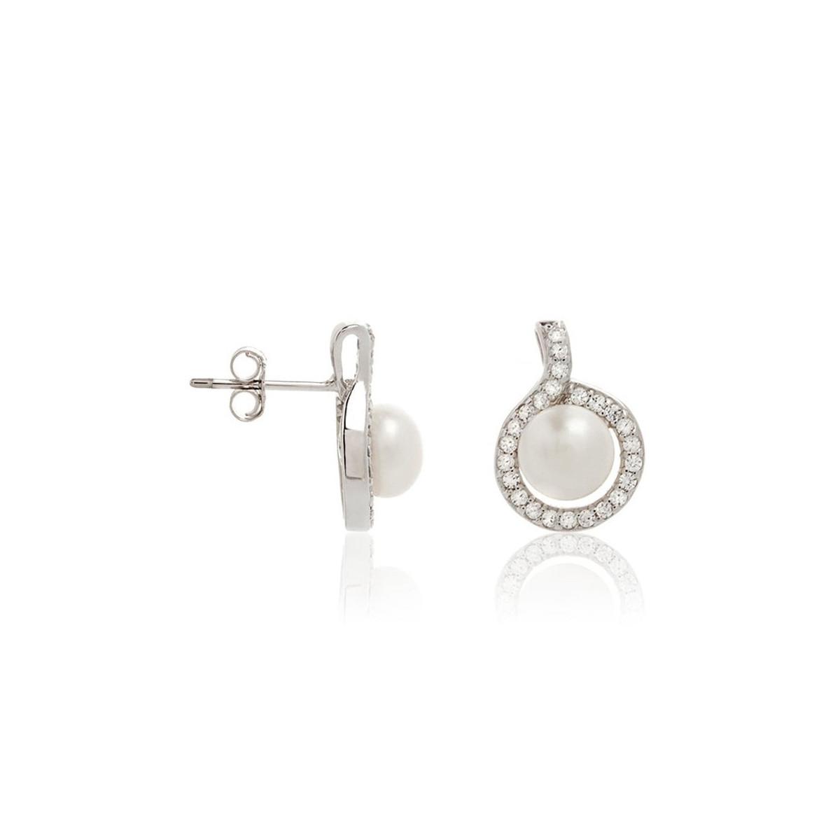 """Boucles d'oreilles argent, oxydes de zirconium et perles de culture blanches """"Rêve"""""""