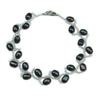 """Bracelet argent et perles de culture noires """"Nice Pearl"""""""