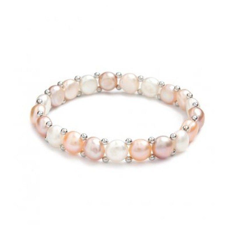 Bracelet simplicité en perles de culture blanche/rose/lavande et argent 925