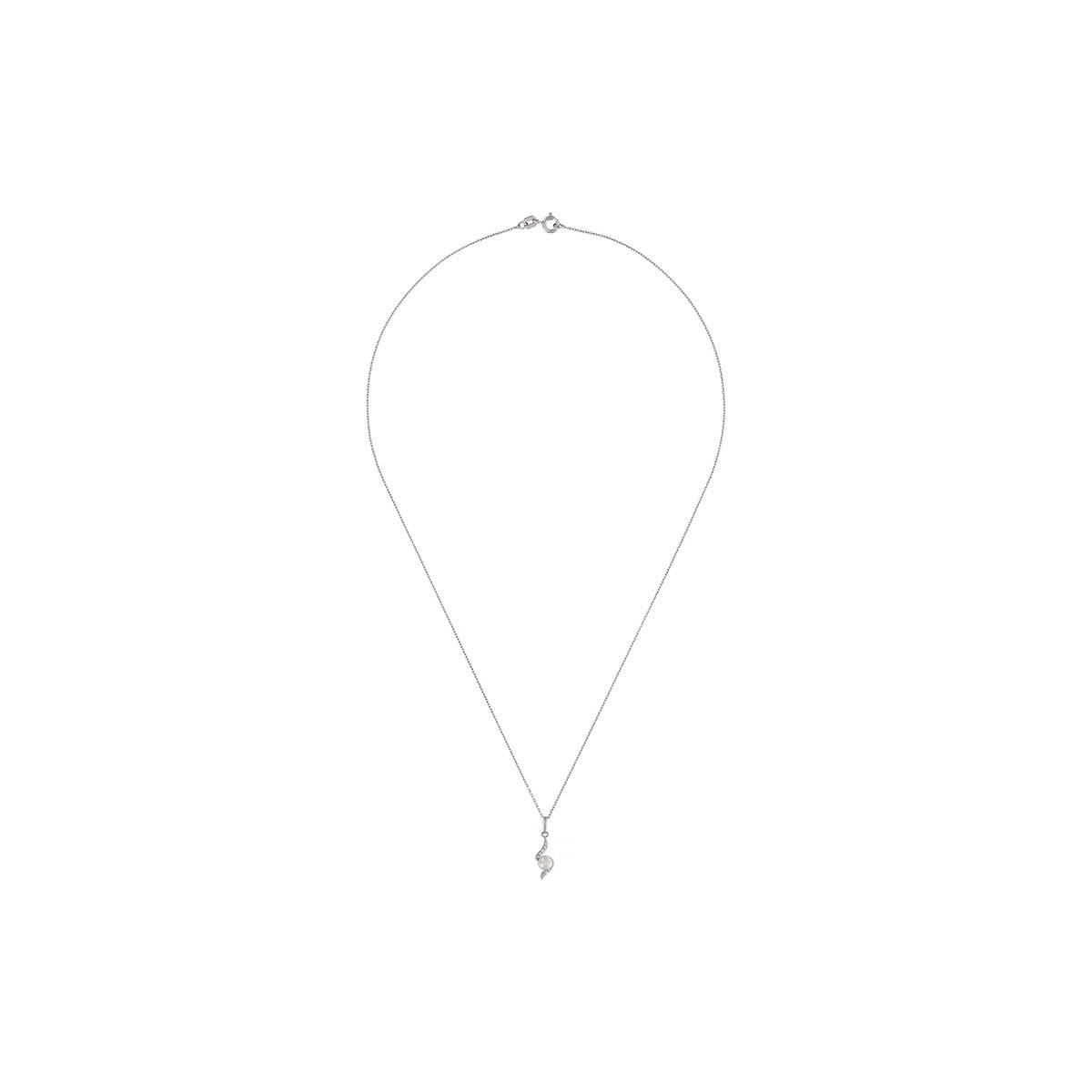 """Pendentif Or Blanc, perle de culture blanche et oxyde de zirconium  """"Câjoleur"""" + chaîne argent offerte"""