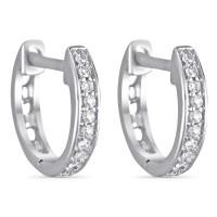 """Boucles d'oreilles Or Blanc et Diamants 0,06 carats """"Anneau PM"""""""