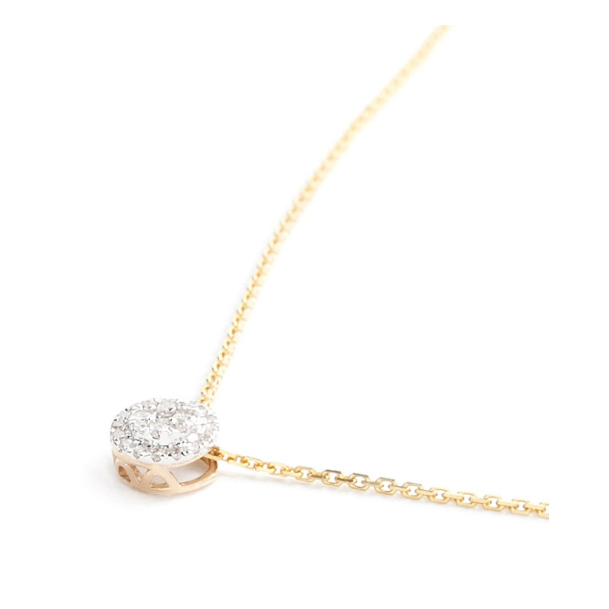 "Pendentif Or Jaune et Diamants 0,12 carat ""MON BRILLANT"" + chaîne vermeil offerte"