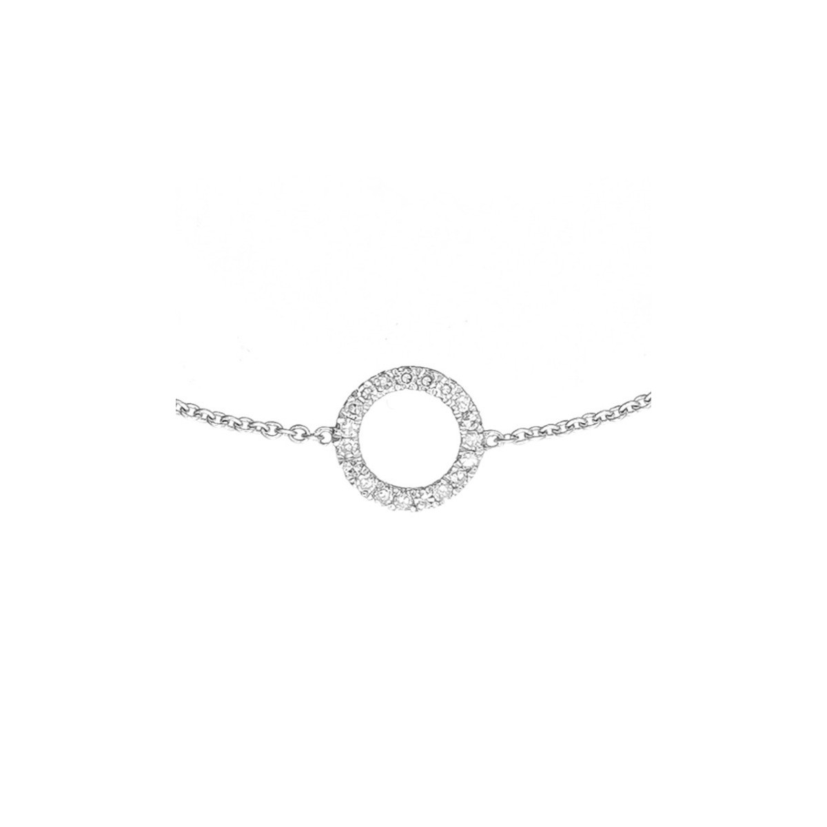 "Bracelet chaine Or Blanc et Diamants 0,06 carat ""BULLE DE DIAMANTS"""