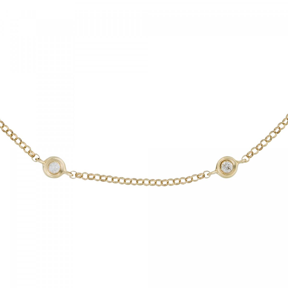 "Bracelet chaine Or Jaune et Diamants 0,14 carat ""SUNSHINE"""