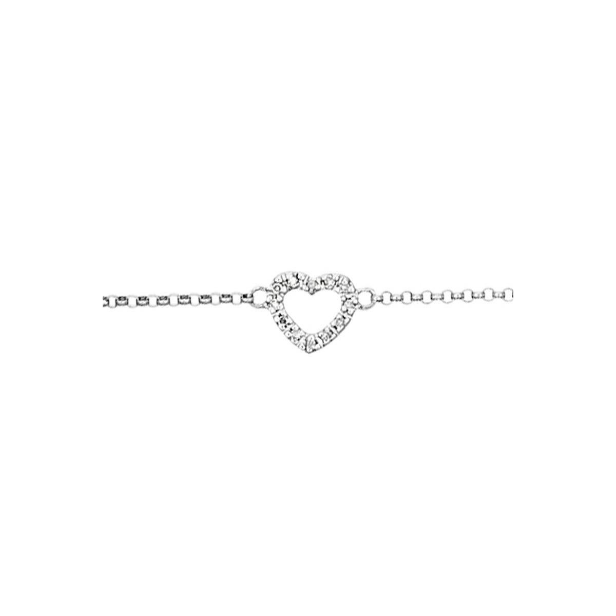 """Bracelet Or Blanc et Diamants 0,04 carat """" MINI COEUR"""""""