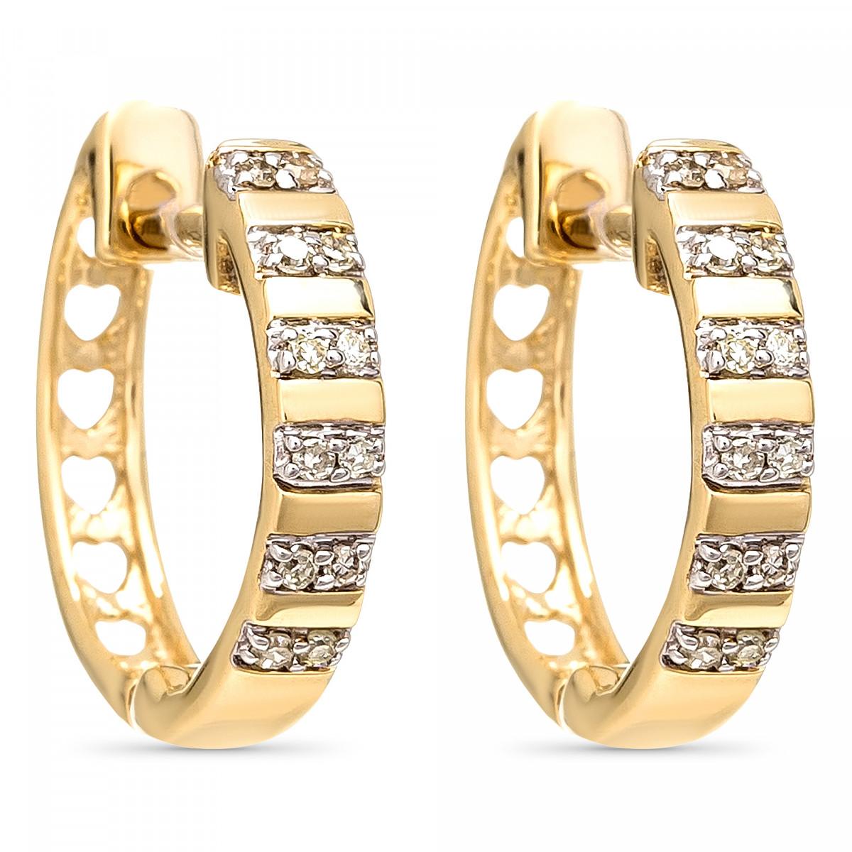 """Boucles d'oreilles Or Jaune et Diamants 0,08 carat """"LINÉA"""""""