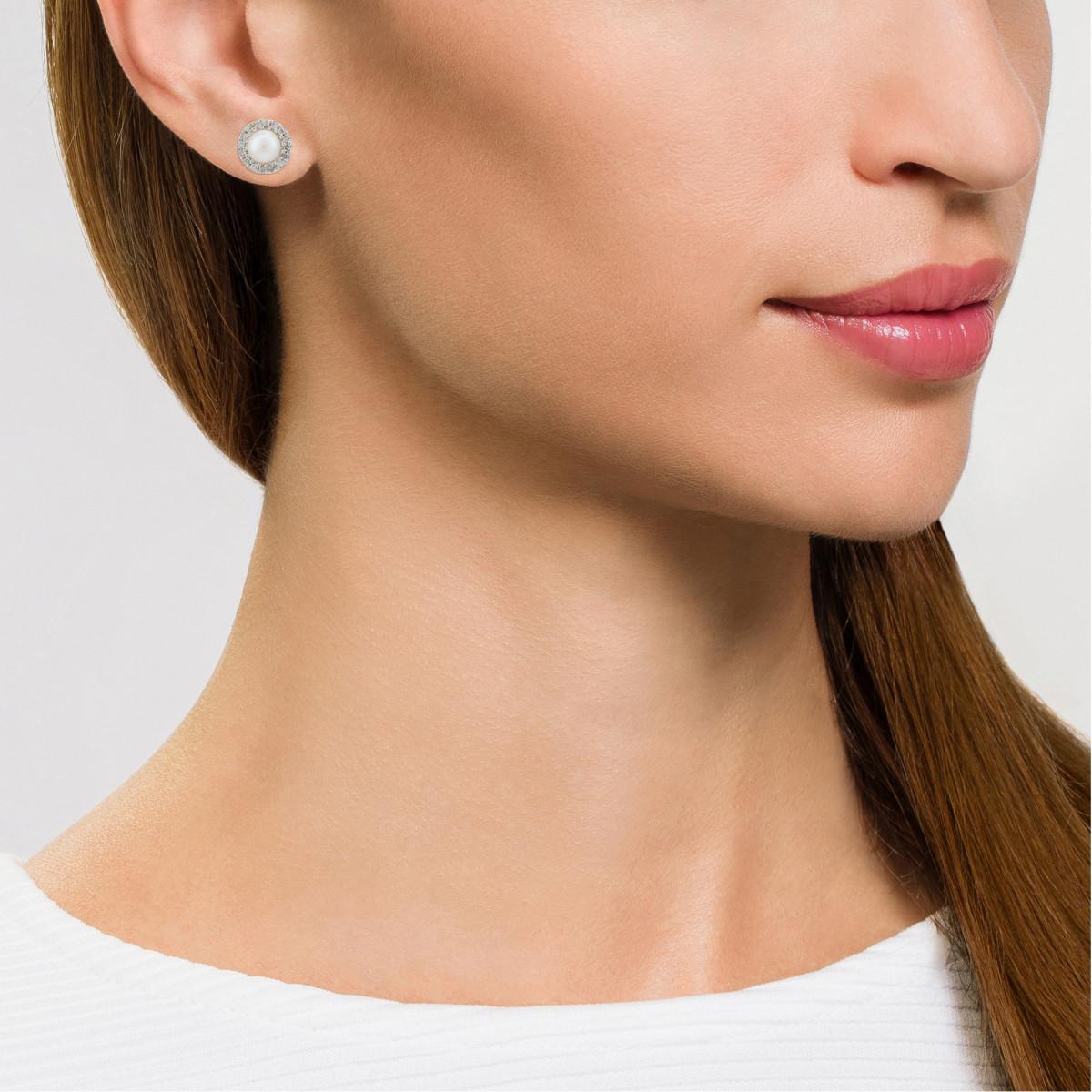 """Boucles d' oreilles Or Blanc, Diamants 0,14 carat et perles de culture blanches """"PERLES ENCHANTÉES"""""""