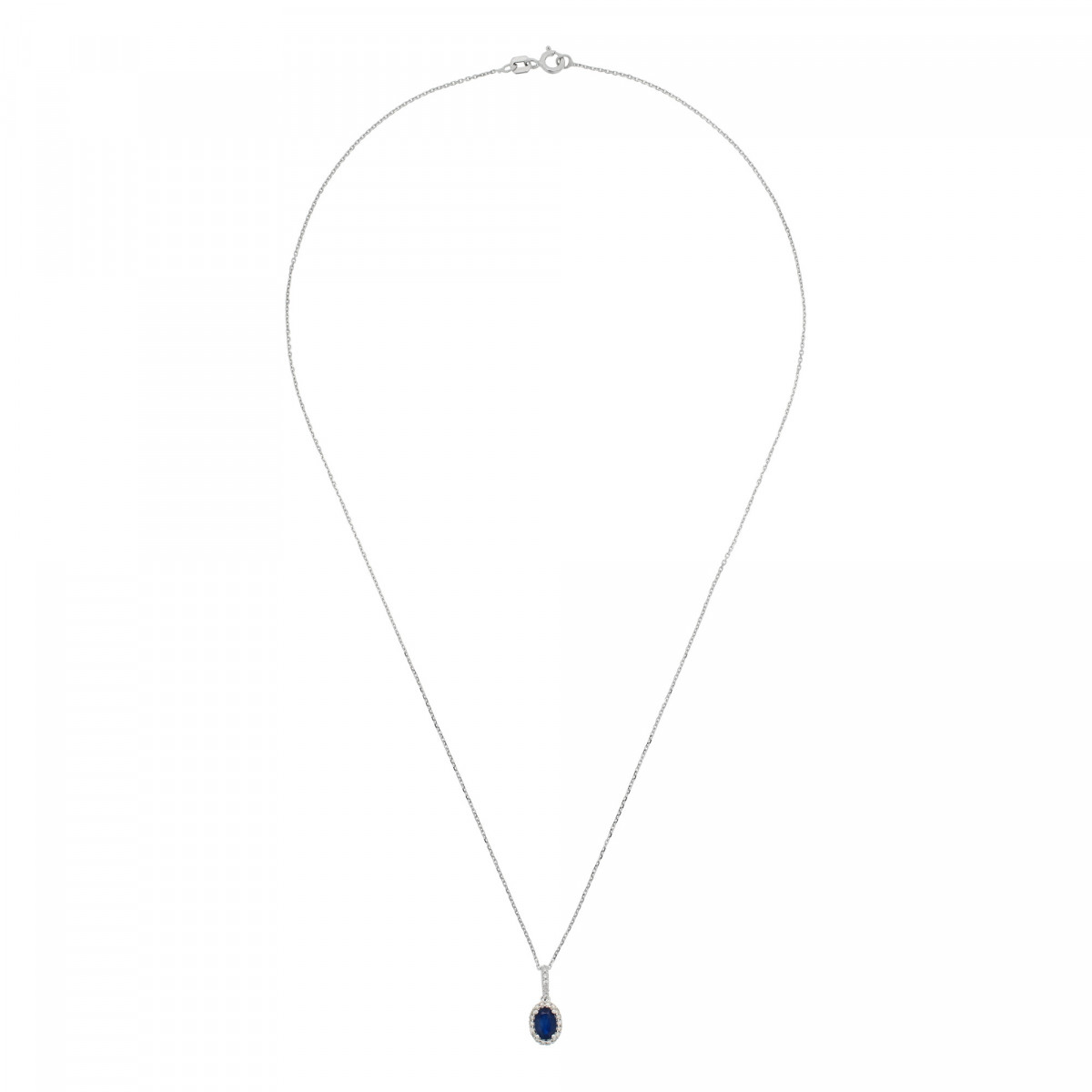 "Pendentif Or Blanc, Diamants 0,09 carat et Saphir 0,6 carat ""COURTOISIE"" + chaîne argent offerte"