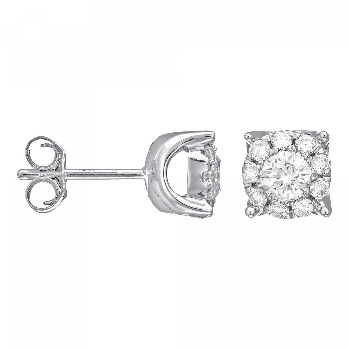 """Boucles d'oreilles Or Blanc et Diamants 0,11 carat """"BRILLANT LUCIANA"""""""