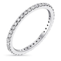 "Alliance Or Blanc et Diamants 0,4 carats ""Tour Complet Lumineux"""