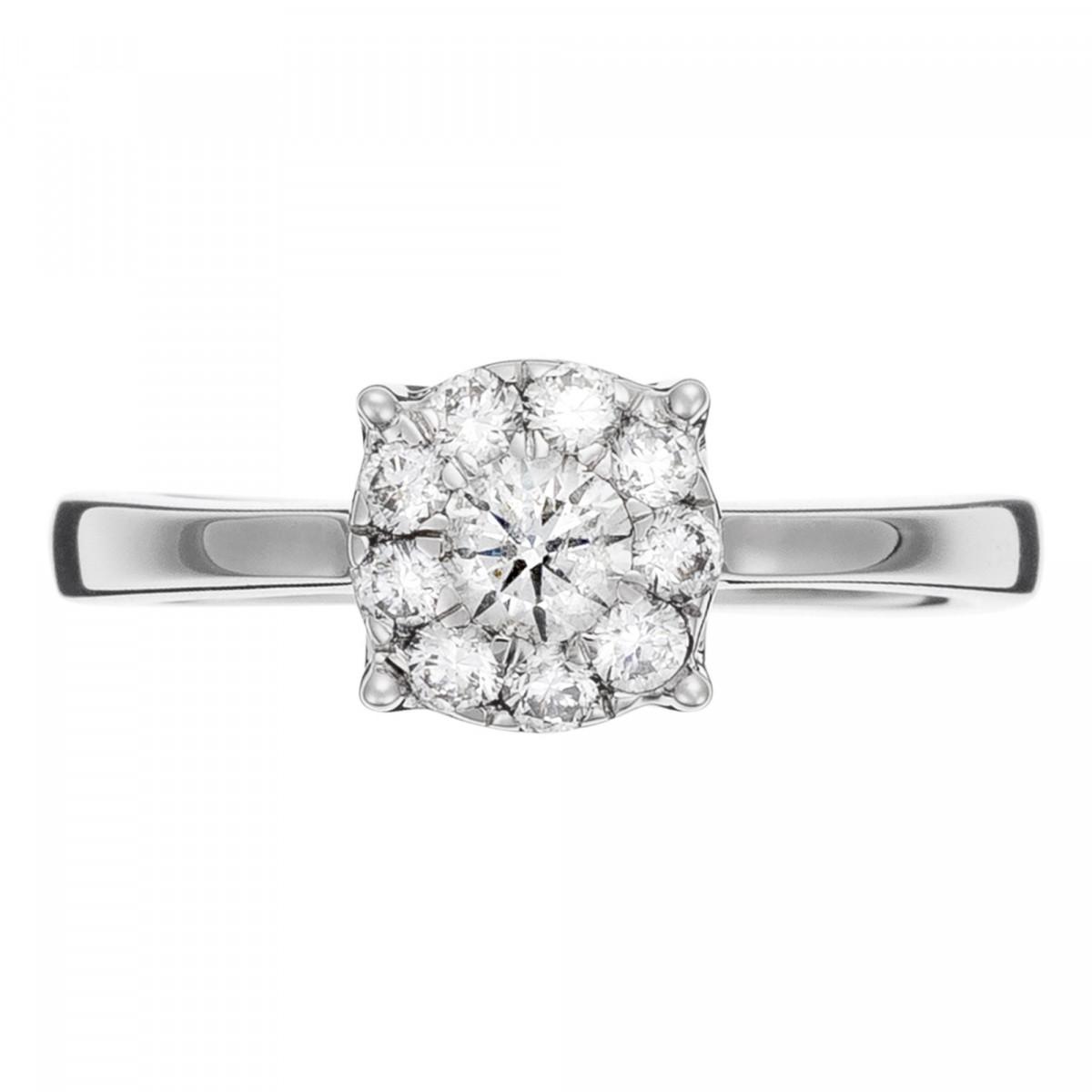 """Solitaire """"Brillant Lucia"""" Or blanc et Diamants"""