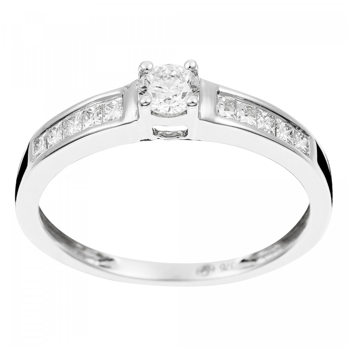 "Solitaire Or Blanc et Diamants 0,5 carat ""SOLITAIRE TOUR PRINCESSE"""