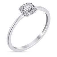 "Solitaire Or Blanc, Diamants 0,05 carats et Topaze 0,32 carats ""Carré Topazien"""
