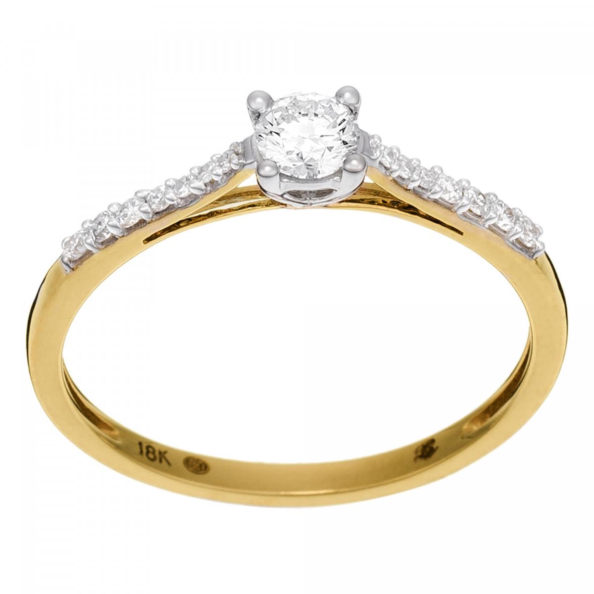 """Solitaire Or Jaune et Diamants 0,32 carat """"DIS-MOI OUI"""""""