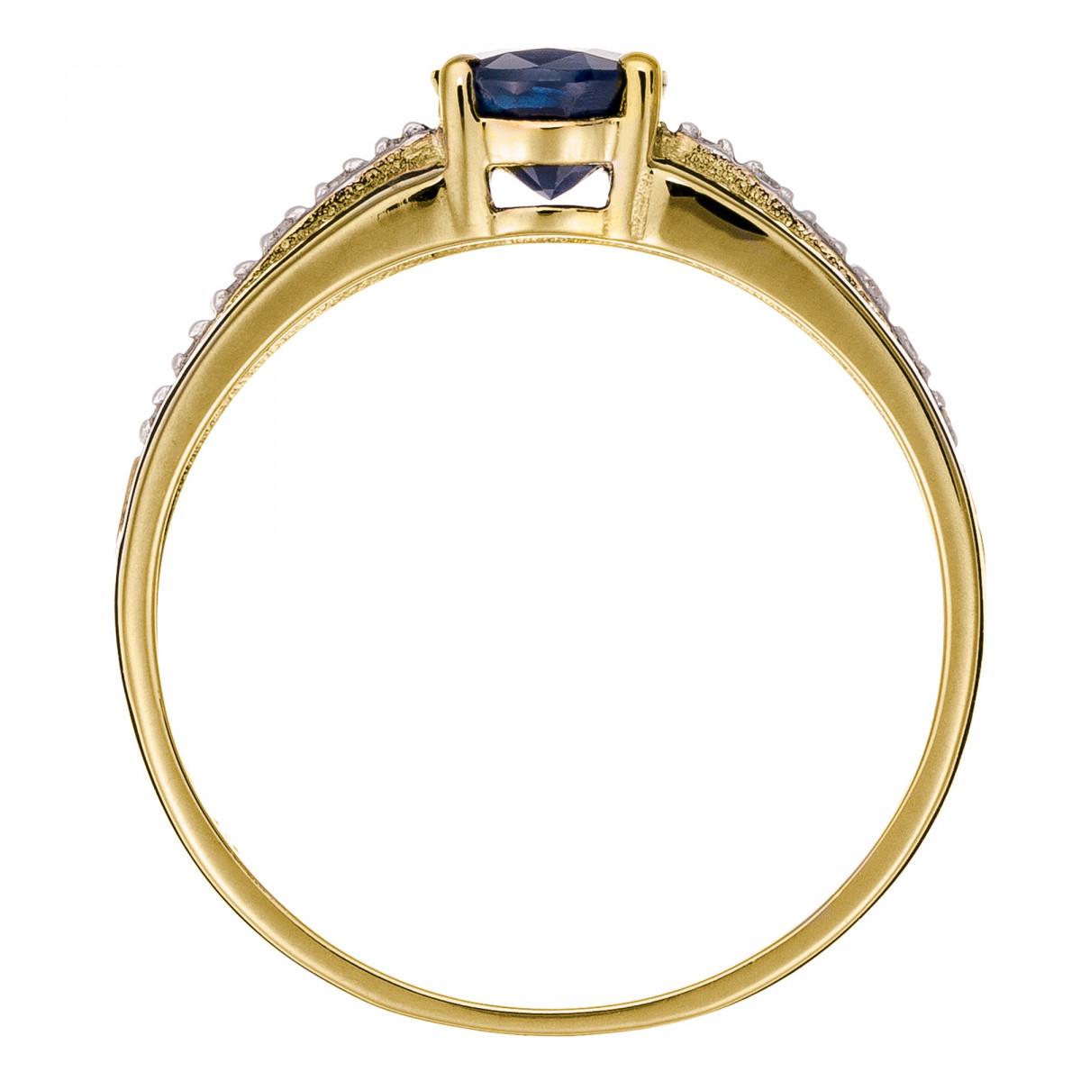 """Solitaire Or Jaune, Diamants 0,05 carat et Saphir 1 carat """"SOLITAIRE TRIA"""""""