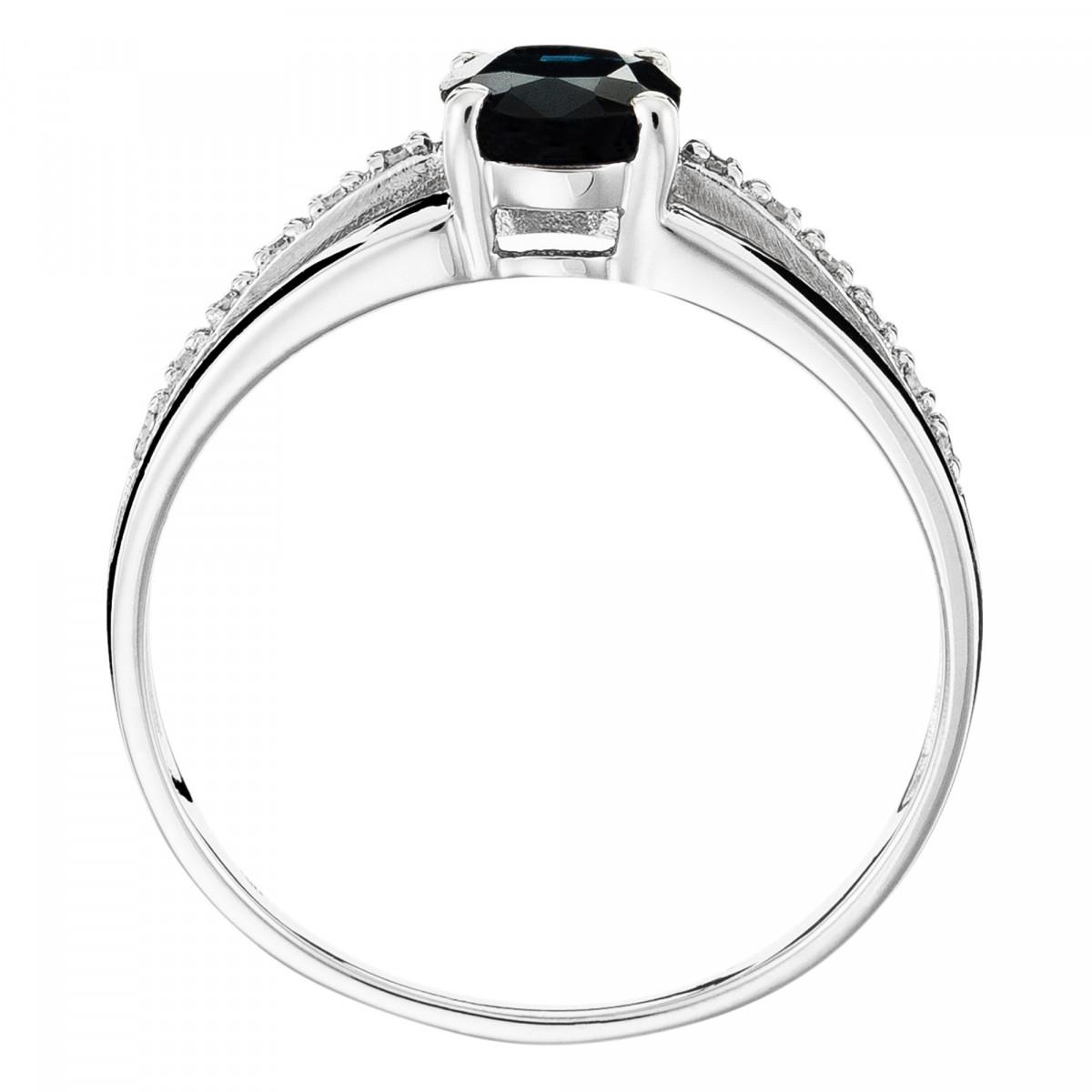 """Solitaire Or Blanc, Diamants 0,05 carat et Saphir 1 carat """"SOLITAIRE TRIA"""""""