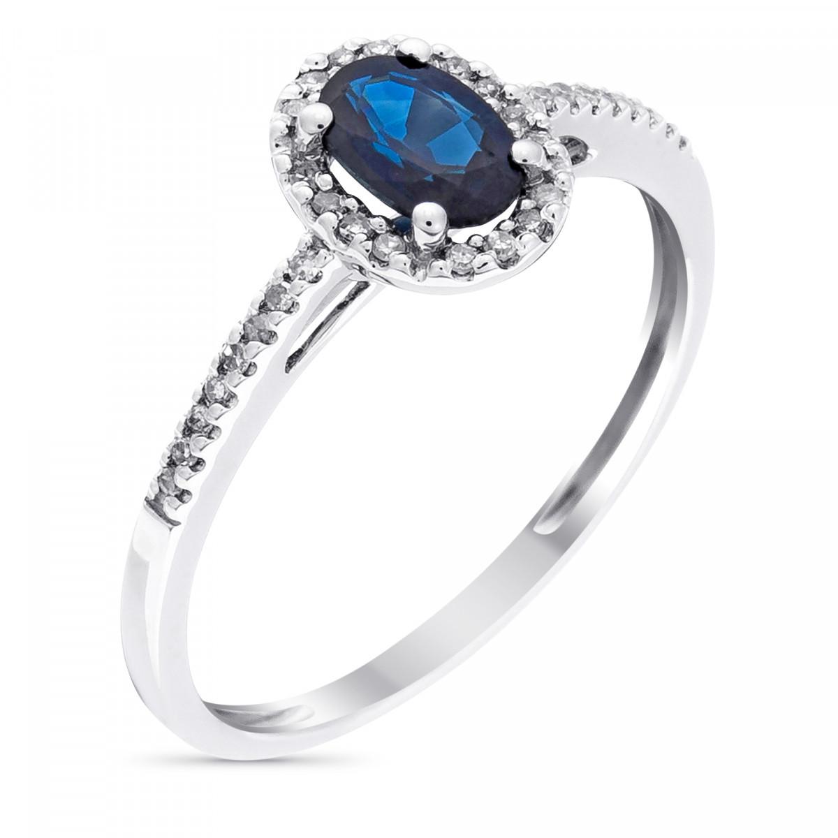 """Bague Or Blanc, Diamants 0,1 carats et Saphir 0,74 carats """"Royal Blue"""""""