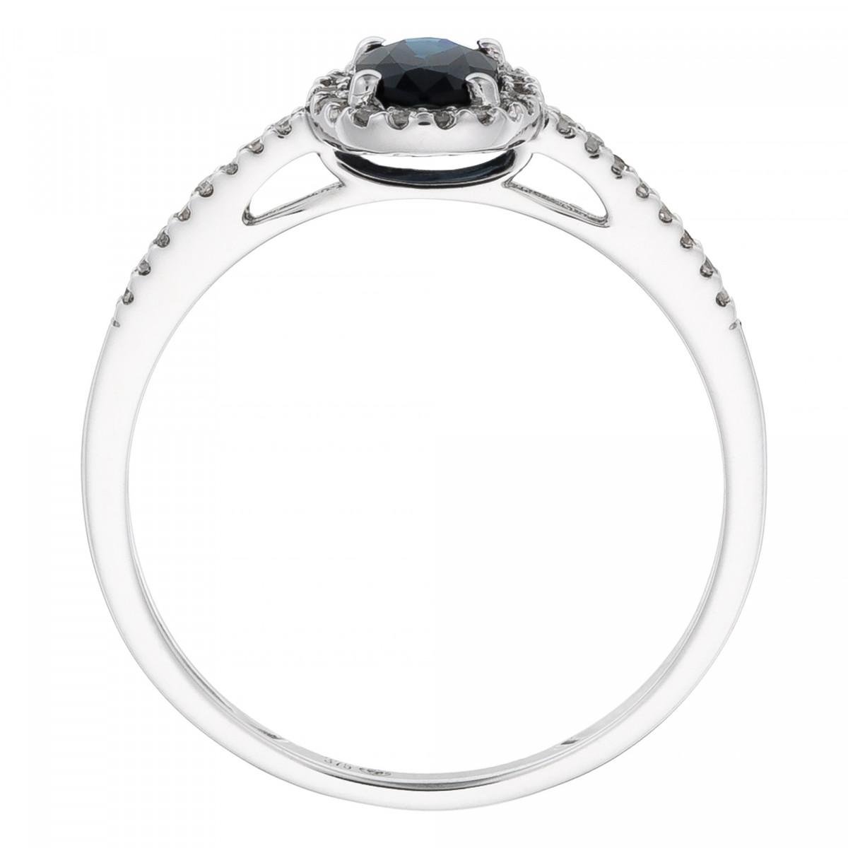 """Solitaire Or Blanc, Diamants 0,1 carat et Saphir 0,74 carat """"ROYAL BLUE"""""""