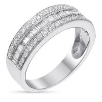 "Bague Or Blanc et Diamants 0,5 carats ""Kiss Baguette"""