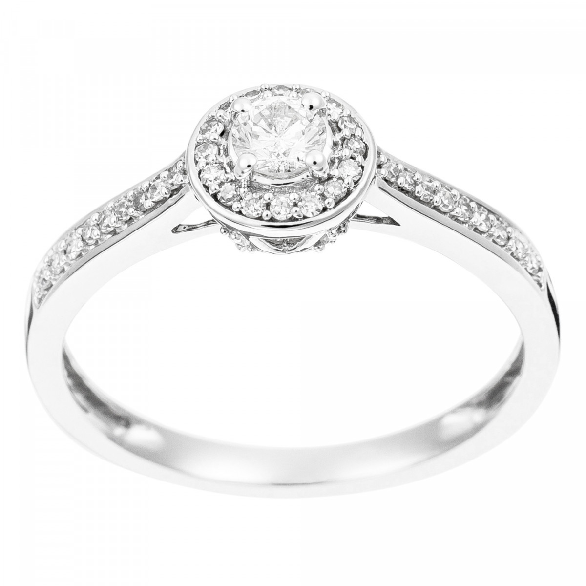 "Solitaire Or Blanc et Diamants 0,30 carat ""BRILLANT SOMPTUEUX"""