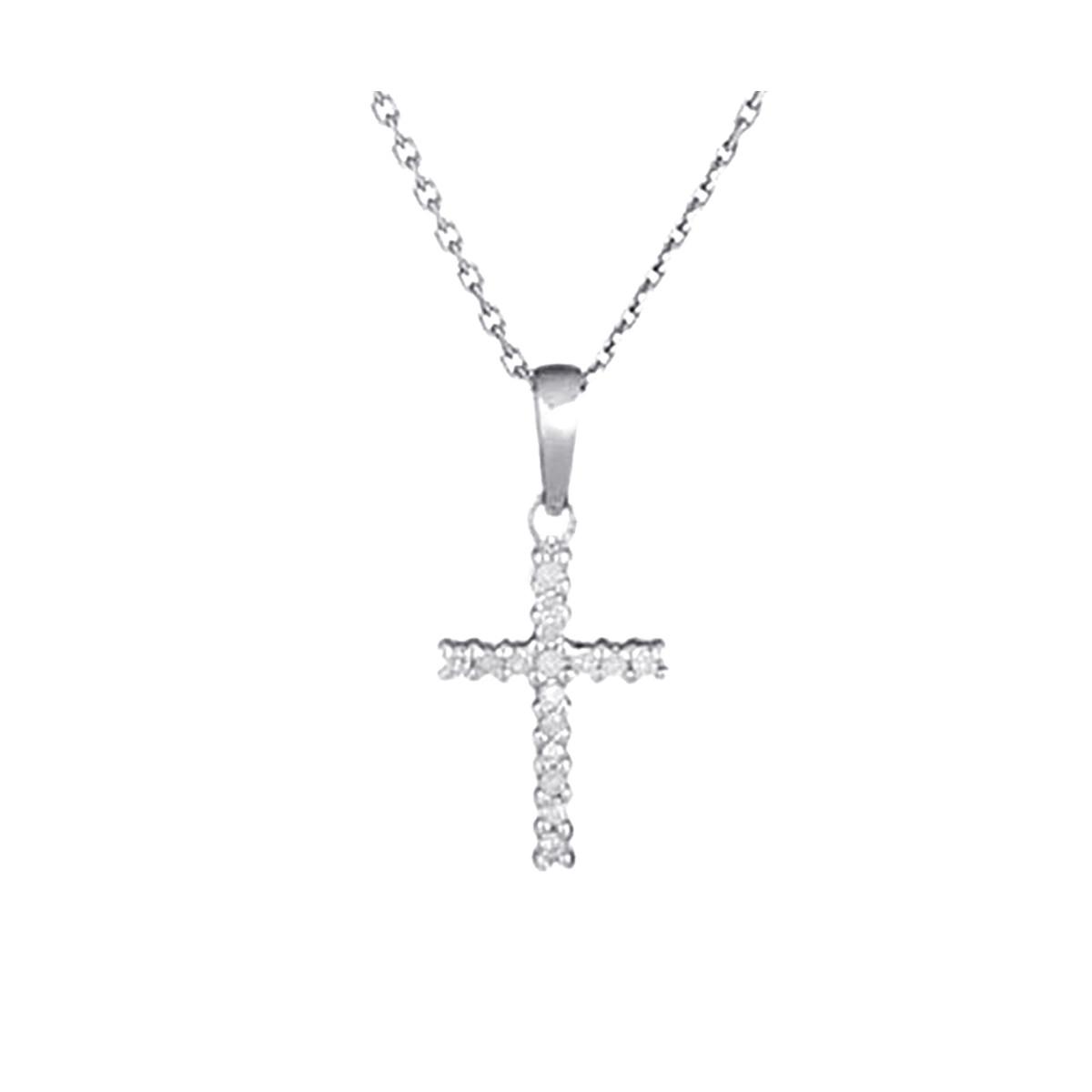 """Pendentif Or Blanc et Diamants 0,06 carat """"CROIX DU BONHEUR"""" + chaîne argent offerte"""