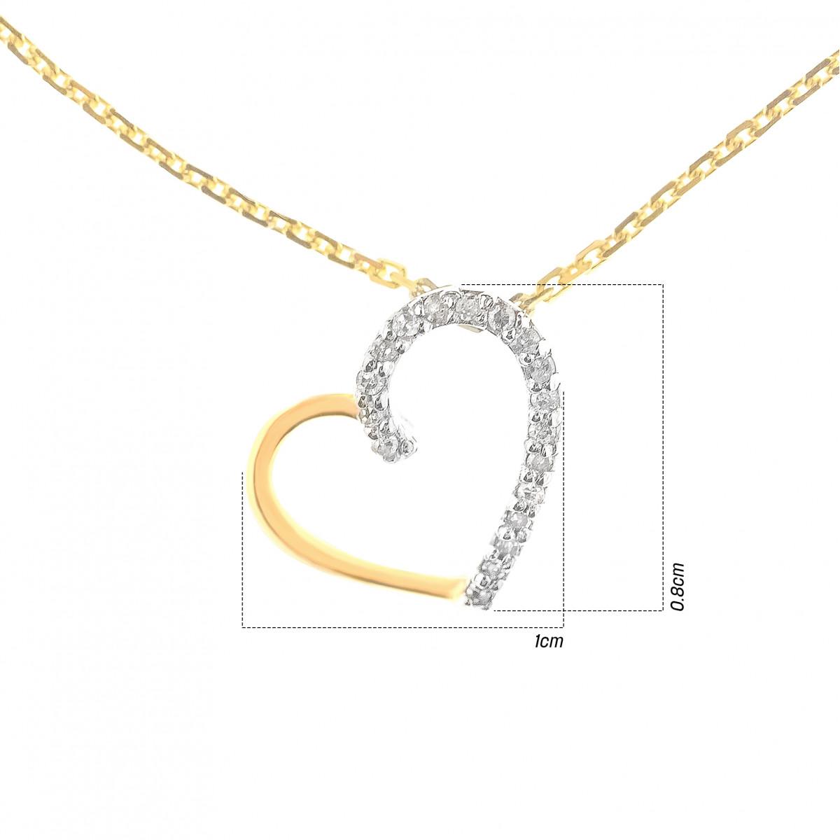 """Pendentif Or Jaune et Diamants 0,05 carat """"COEUR PRÉCIEUX"""""""