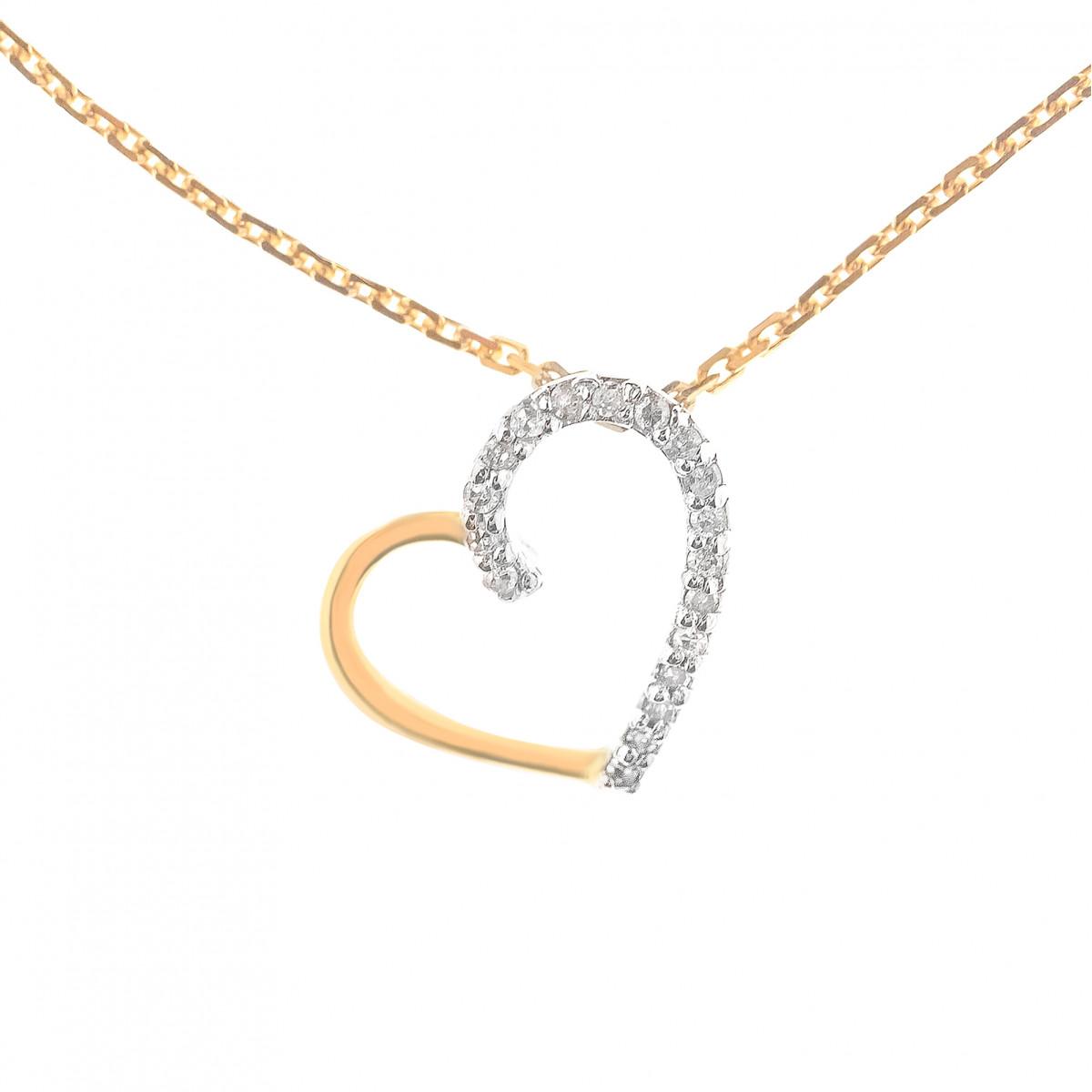 Collier Cœur Précieux Or Jaune 375 et Diamants 0.05ct