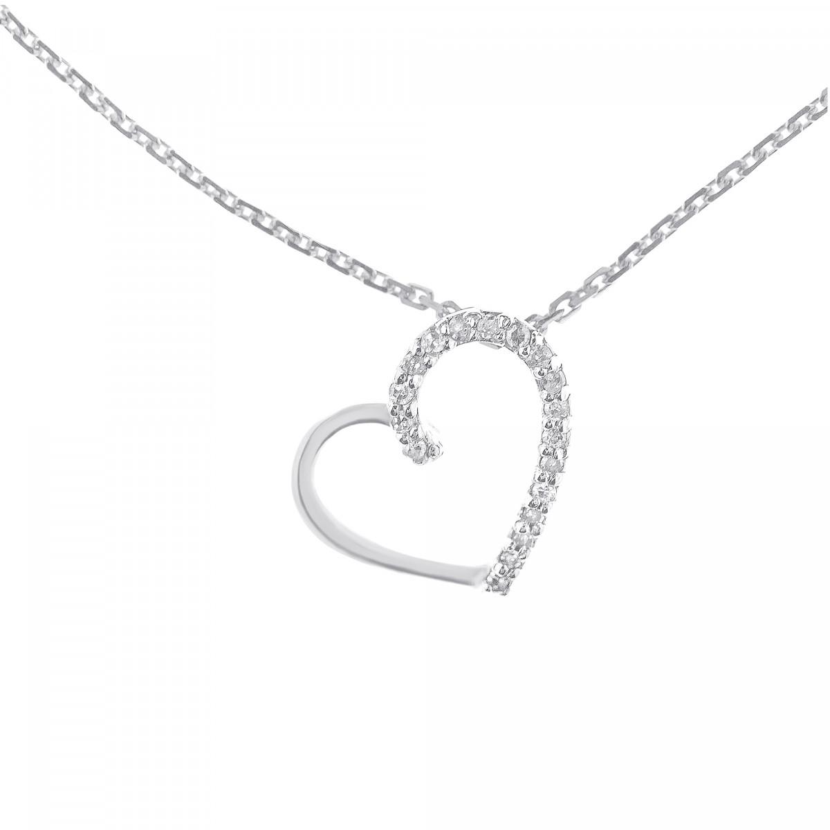 Collier Cœur Précieux Or Blanc 375 et Diamants 0.05ct