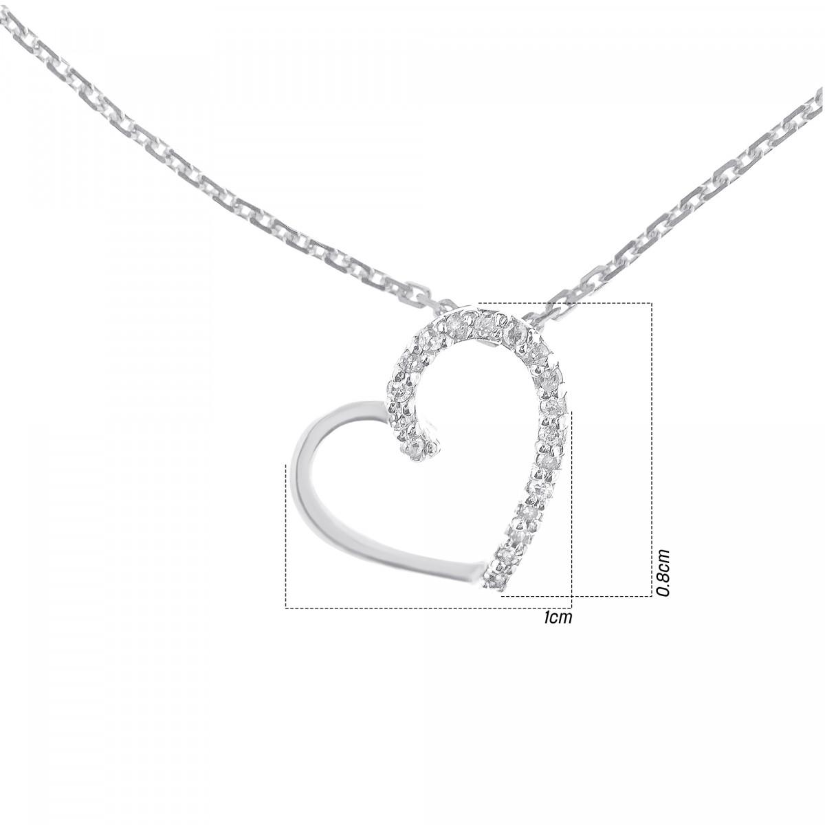 """Pendentif Or Blanc et Diamants 0,05 carat """"COEUR PRÉCIEUX"""""""
