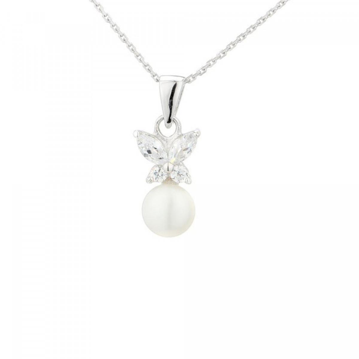 """Pendentif argent, perle de culture blanche et oxydes de zirconium """"Papillons pearls"""" + chaîne argent offerte"""