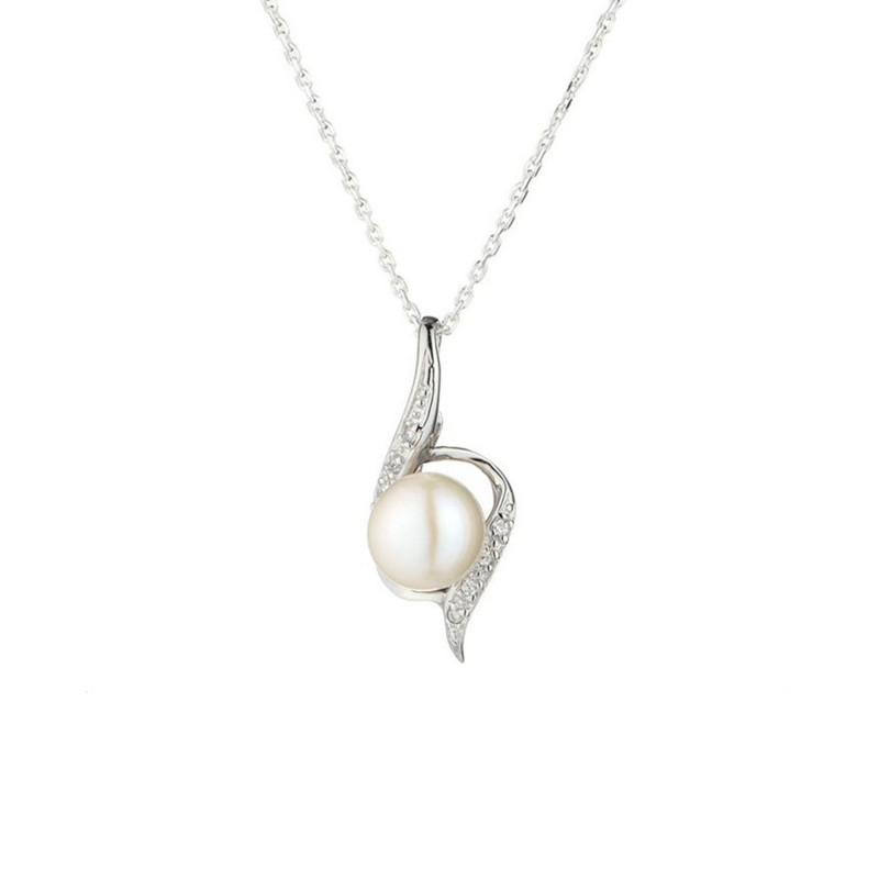 Pendentif Chaine Perlita En Perles De Culture Blanche Et Argent