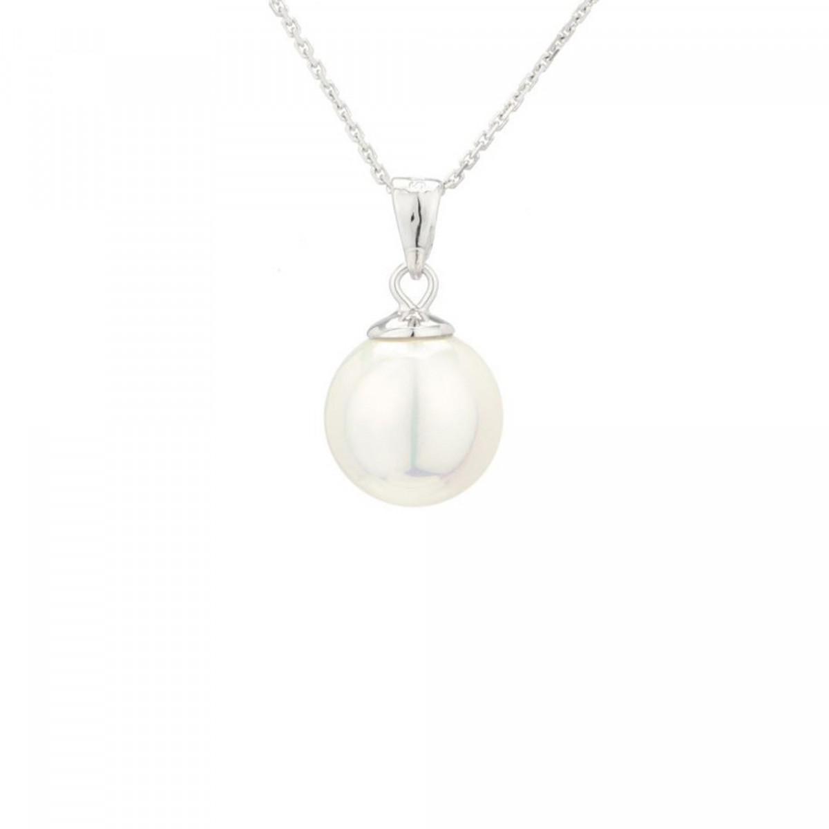 Pendentif + Chaîne ma perle en perles de culture blanche et argent 925