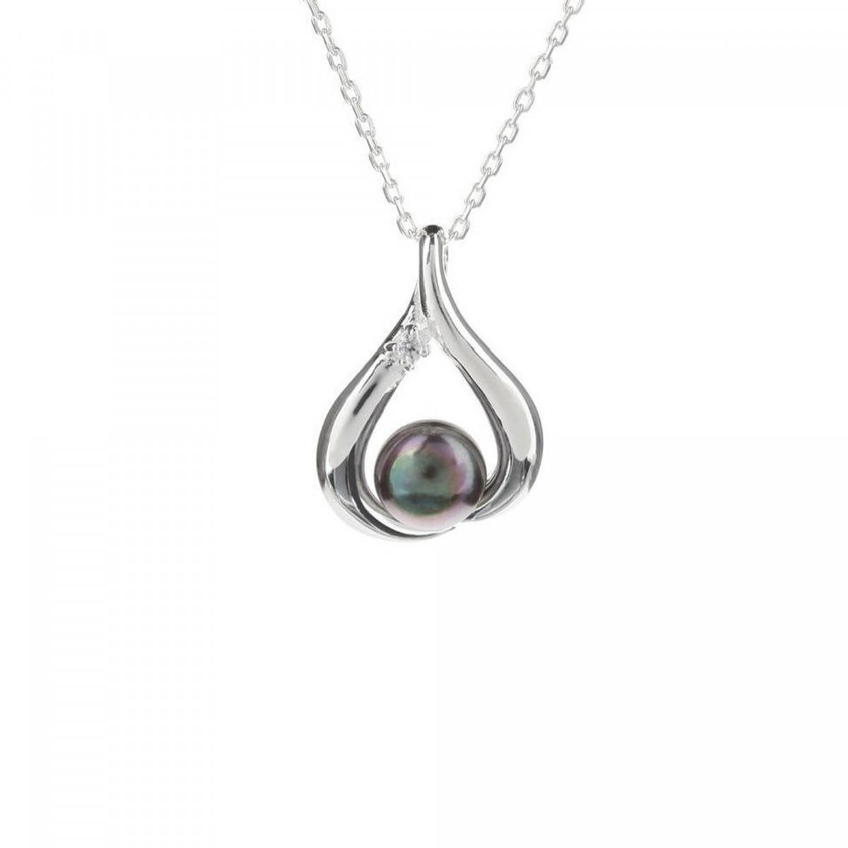 Pendentif + Chaîne poire pearl  en perles de culture grise et argent 925