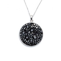 """Pendentif laiton Argenté orné de cristaux Noir """"Cercle Pavé Hématite"""" + chaîne argent offerte"""