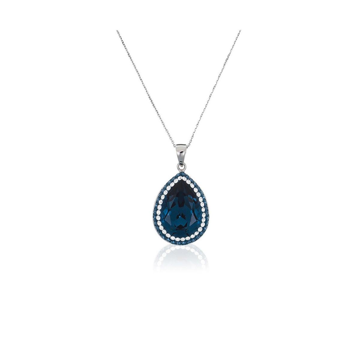Pendentif + Chaîne Droppy Métal Argenté Orné de Cristaux Swarovski Elements Bleu