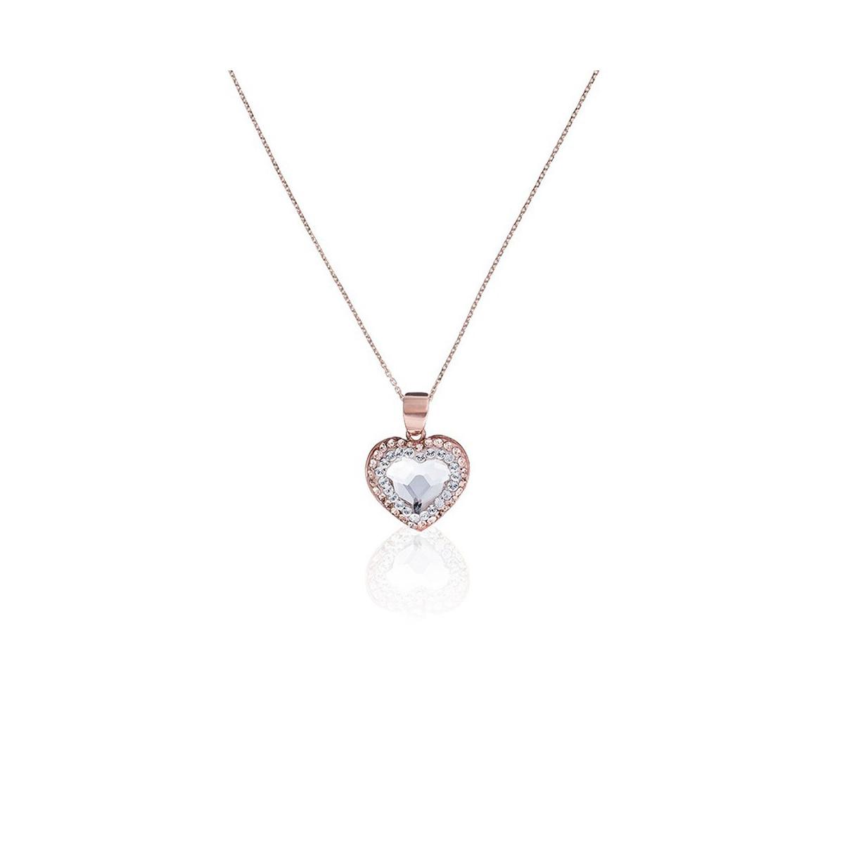 """Pendentif laiton rosé orné de cristaux Sable et Blanc """"A la Folie"""" + chaîne vermeil rose offerte"""
