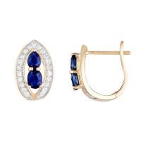 """Boucles d'oreilles Or Jaune, Diamants 0,23 carats et Saphirs 1,1 carats """"Westeros"""""""