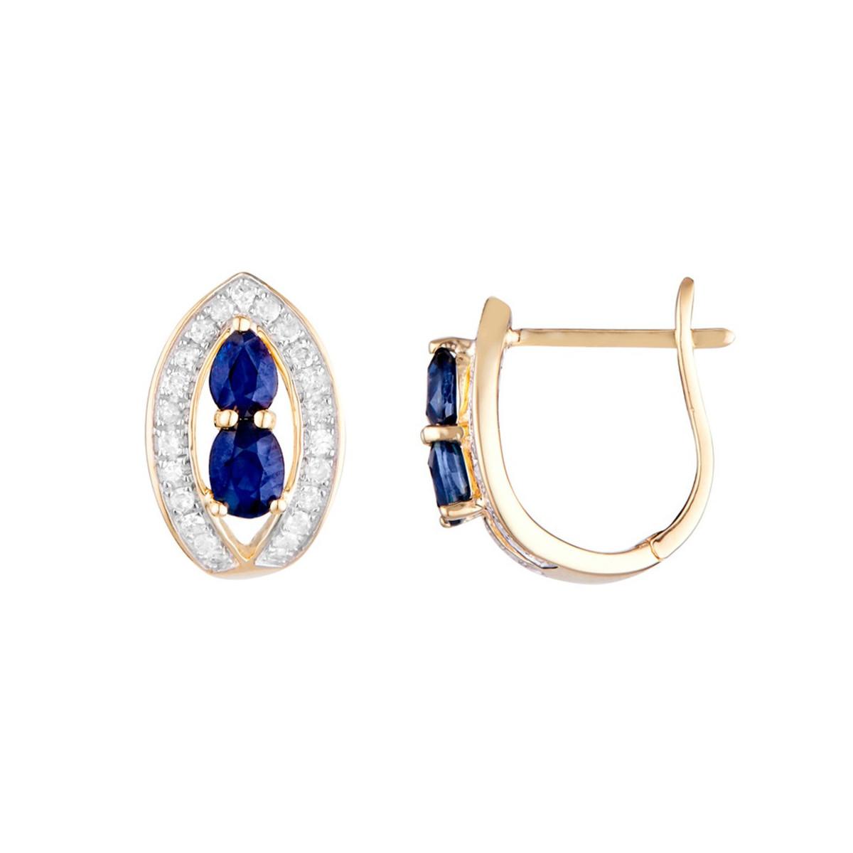 """Boucles d'oreilles Or Jaune, Diamants 0,23 carat et Saphirs 1,1 carat """"WESTEROS"""""""