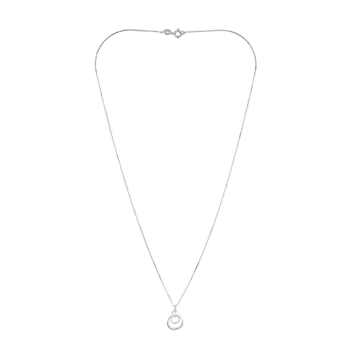 """Pendentif Or Blanc et Diamants 0,06 carat """"NOLA"""" + chaîne argent offerte"""