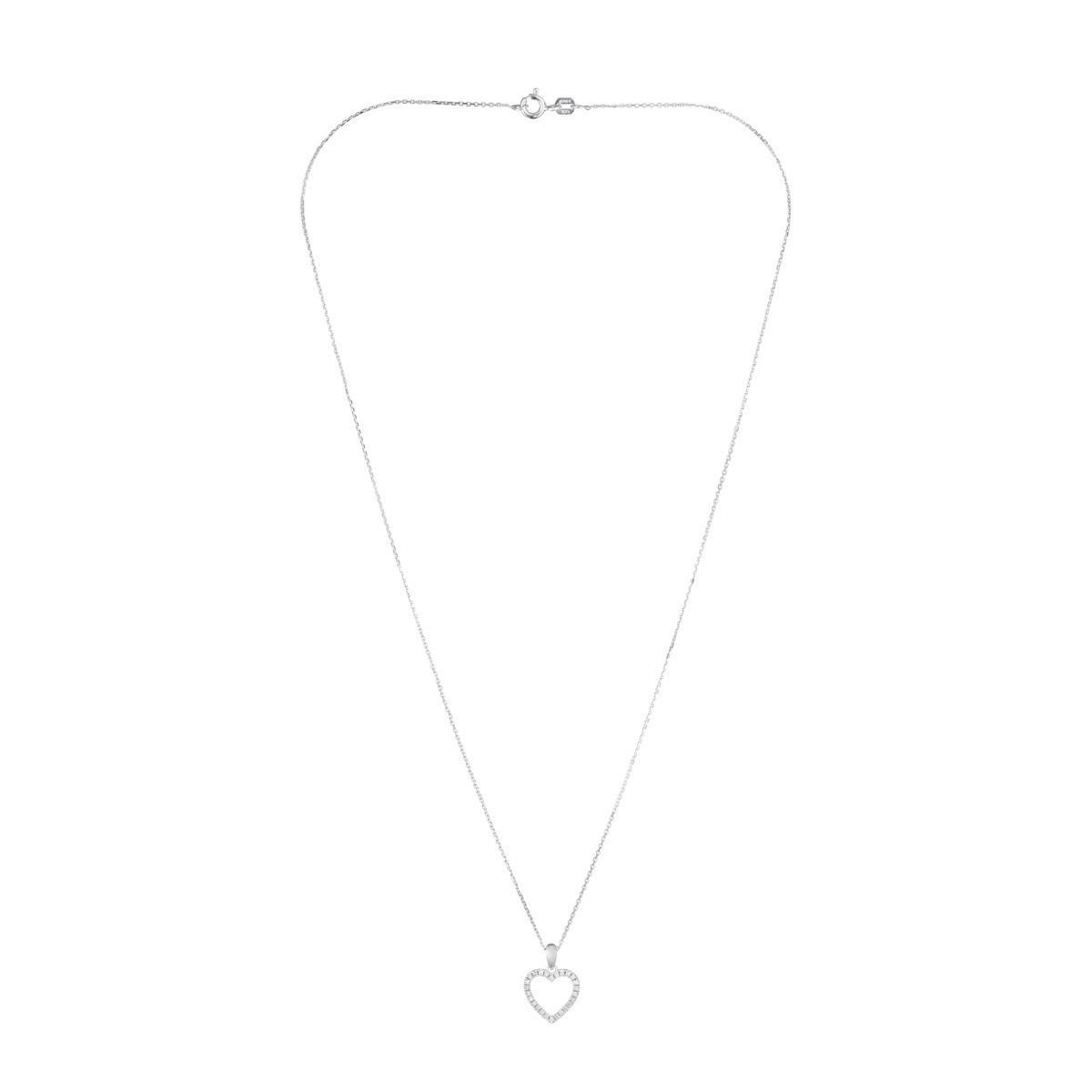 """Pendentif Or Blanc et Diamants 0,13 carat """"ÉLUE DE TON COEUR"""" + chaîne argent offerte"""