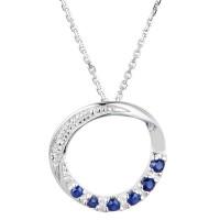 """Pendentif Or Blanc, Diamants 0,003 carats et Saphirs 0,25 carats """"Zante"""" + chaîne argent offerte"""