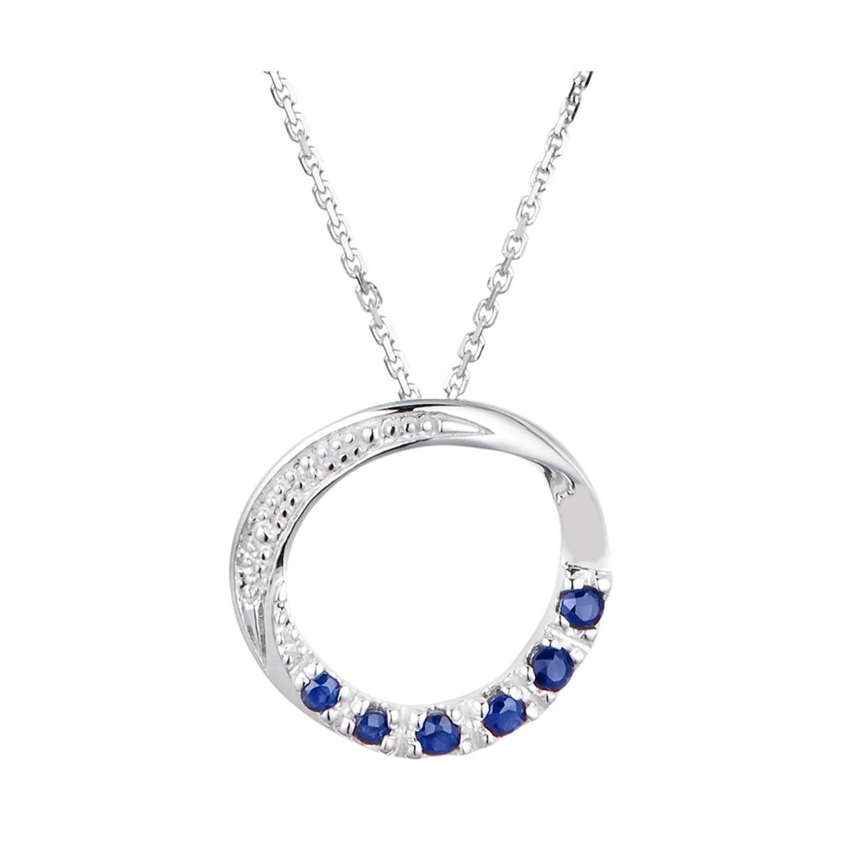 """Pendentif Or Blanc, Diamants 0,003 carat et Saphirs 0,25 carat """"ZANTE"""" + chaîne argent offerte"""