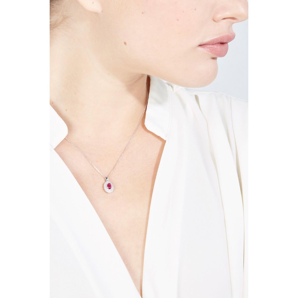 Pendentif Palawan Rubis en Or Blanc et Diamants