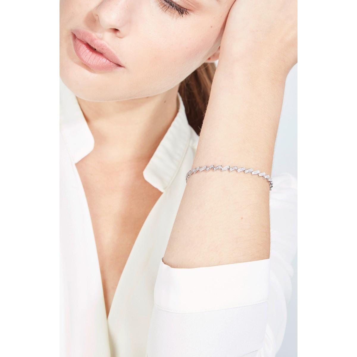 """Bracelet chaine Or Blanc et Diamants 0,5 carat """"TOUCHER DROIT AU COEUR"""""""