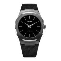 D1 Milano - Montre Ultra Thin Quartz Cadran Noir - Boîtier Noir 40 mm - Bracelet Cuir daim Noir - Homme