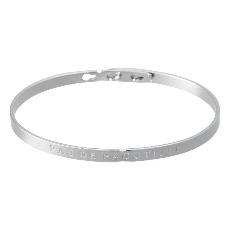 """Bracelet Jonc à message laiton argenté """"PAS DE PACOTILLE"""""""