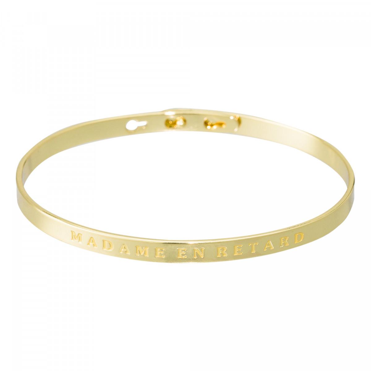 """Bracelet Jonc à message laiton doré """"MADAME EN RETARD"""""""