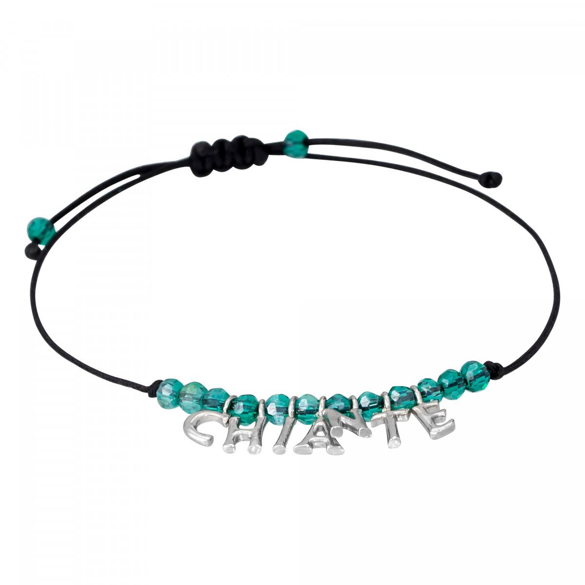 """""""CHIANTE"""" Bracelet cordon et lettering argenté à message"""
