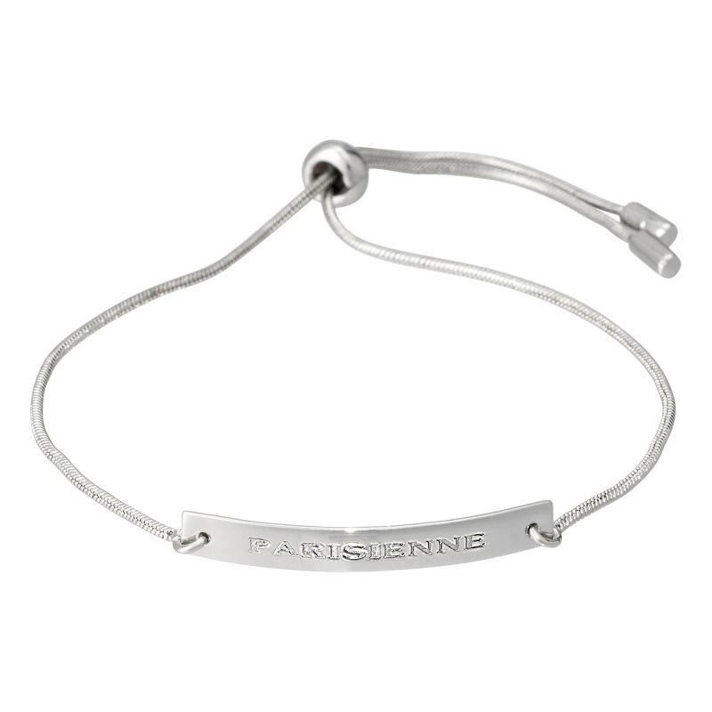 """Bracelet à message laiton argenté """"PARISIENNE"""""""